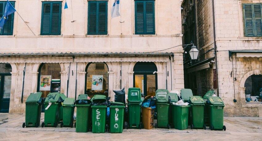trash baskets on street